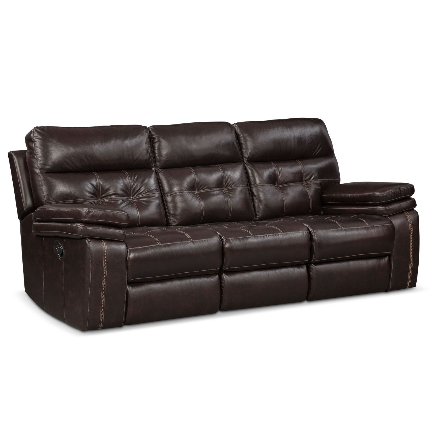 Sky Ridge Mahogany Leather Reclining Sofa $999 99 90W x 40D x