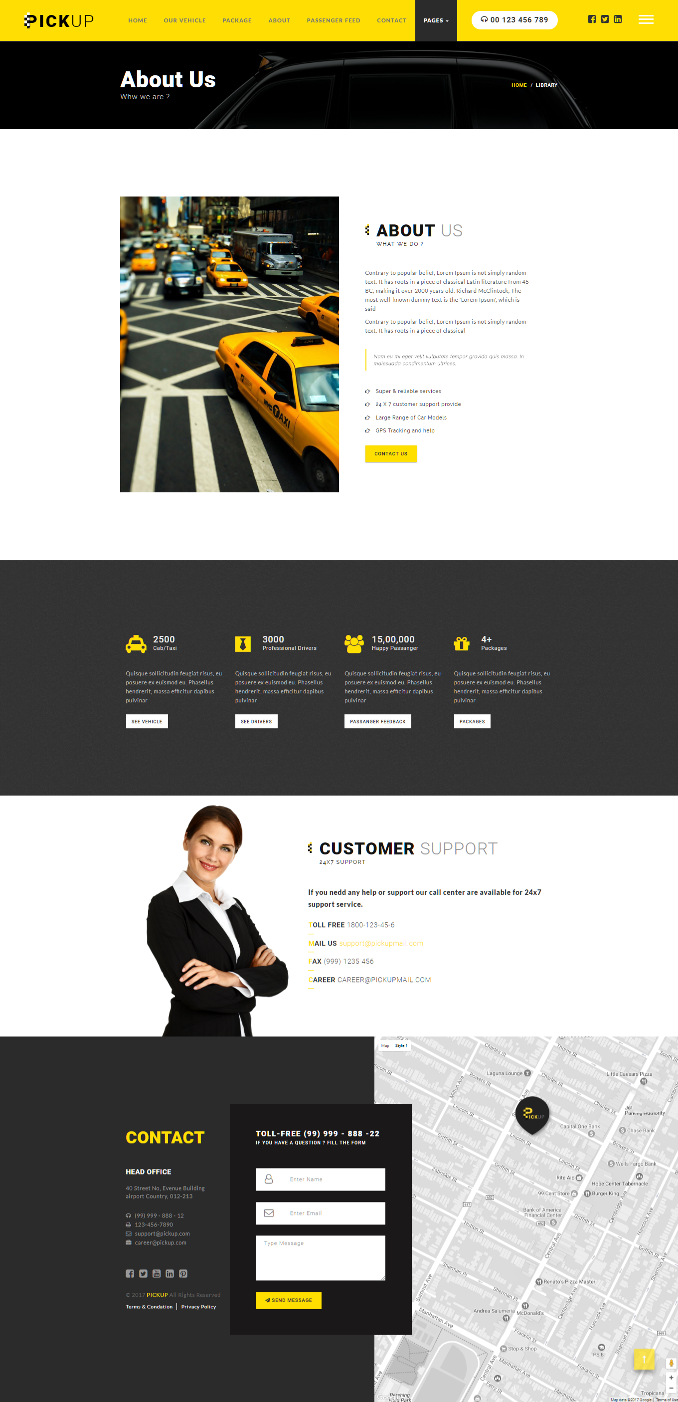 Pickup Cab PSD HTML Template Buy Booking Service Car Clean Creative Fare One Page Onpage Rent A