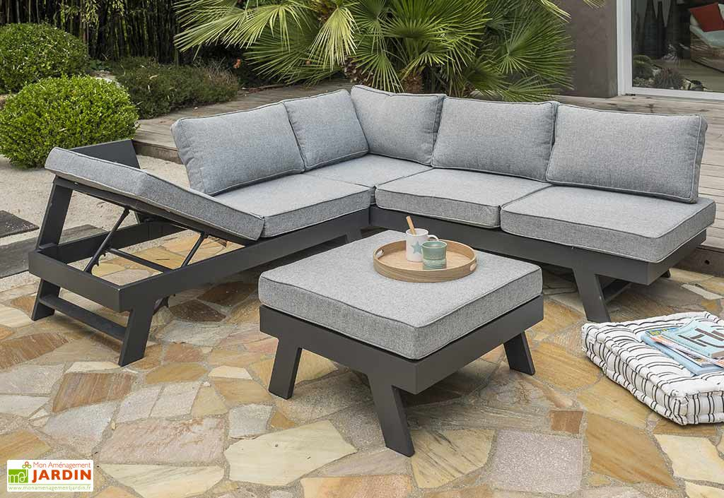 Salon De Jardin D Angle Aluminium Gris Anthracite New York