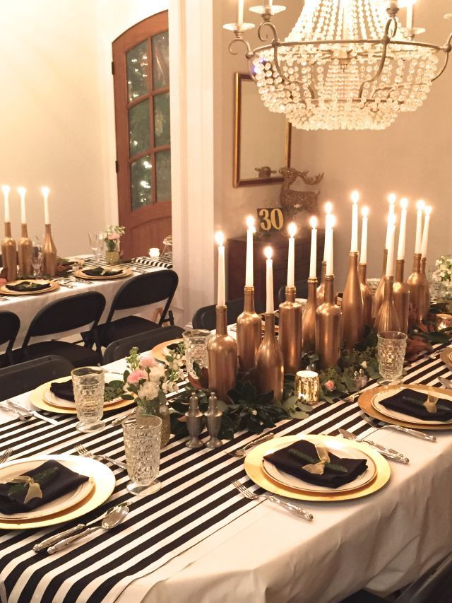 Beautiful Birthday Dinner Party Ideas Part - 4: Gold, Black, And White: My Birthday Dinner Party - SevenLayerCharlotte