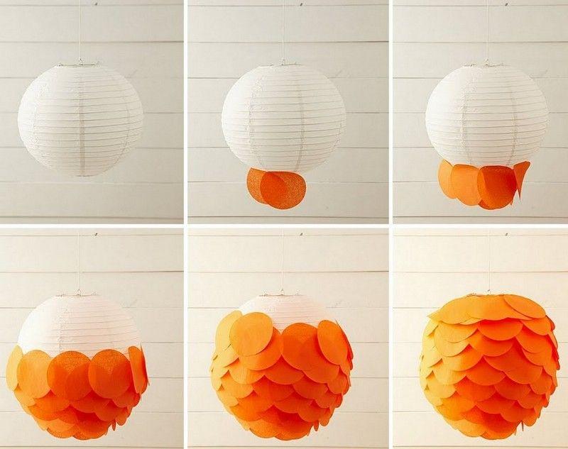 Basteln Erwachsene Papier Klebzettelchen Orange Laterne Dekorieren