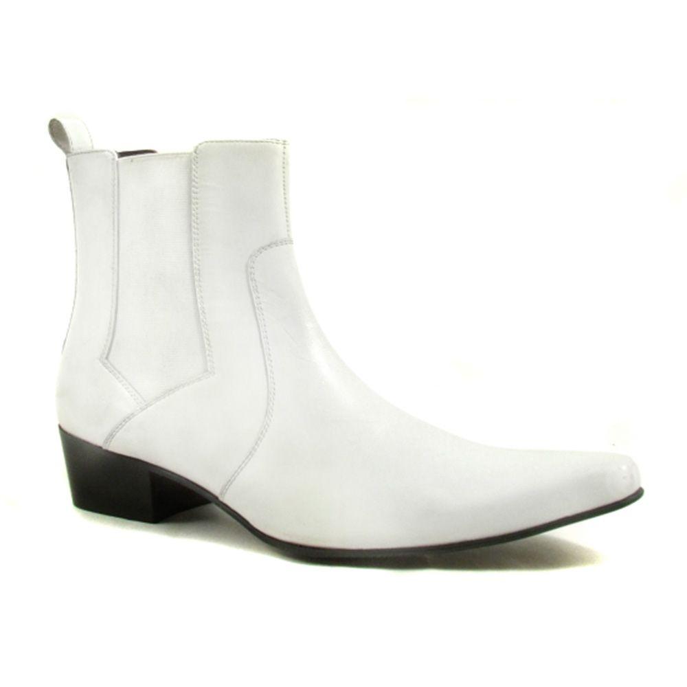 Buy Men White Heel Chelsea Boot Cuban