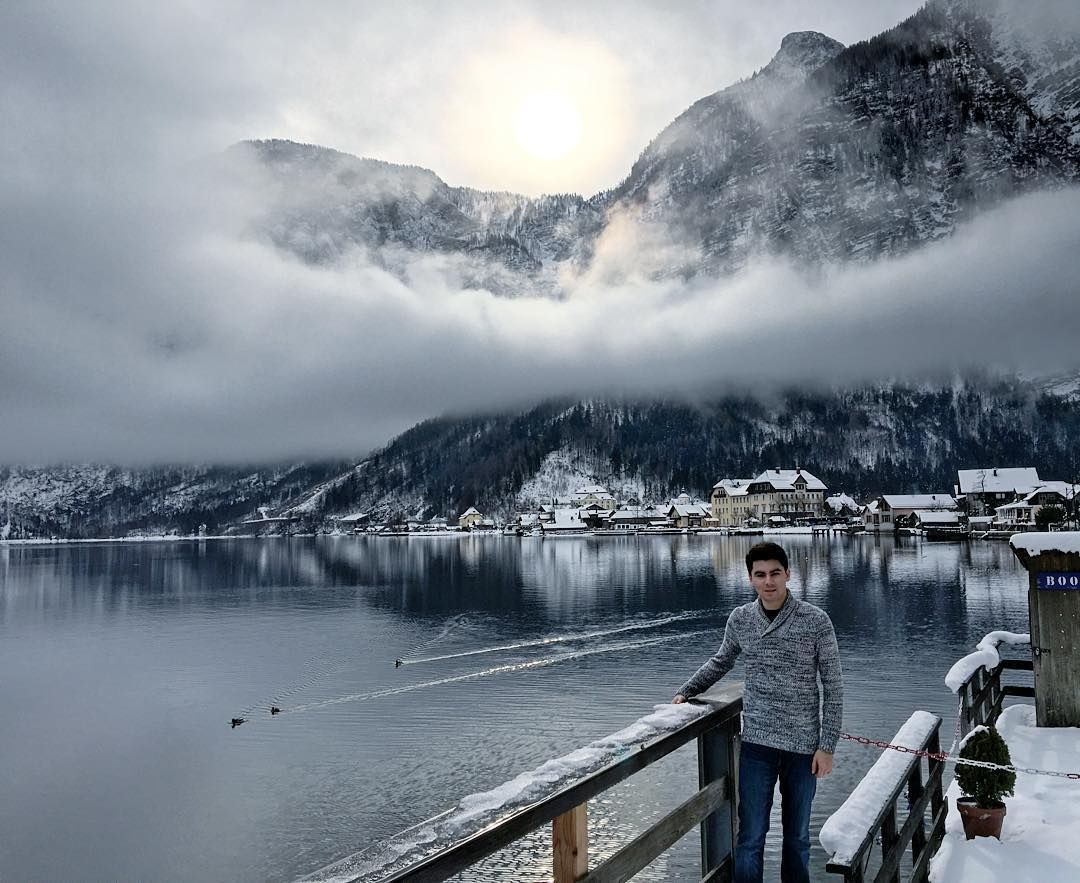 """And the sun started breaking through...which made the view look really nice with some low clouds   Ich liebe diesen Ort! Es ist so schön! #Hallstatt #austria #wien #europe #igersaustria #igersvienna #österreich #city_explore #cityscape #snow #winter #mountain #lake #exploreeurope #clouds #iphone6sphoto #nature #iphonography #iphone6s by nick_rivas Follow """"DIY iPhone 6/ 6S Cases/ Covers/ Sleeves"""" board on @cutephonecases http://ift.tt/1OCqEuZ to see more ways to add text add #Photography…"""