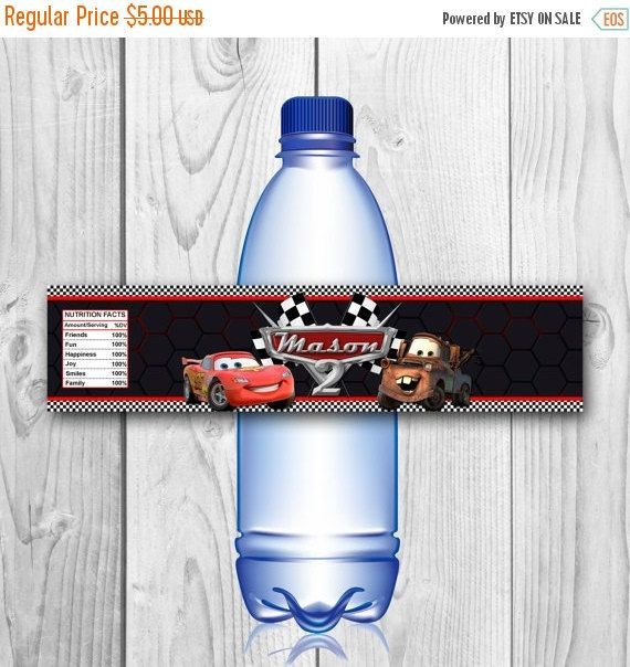 ON SALE 40% Cars Bottle Labels Disney Cars by CuteInvitation1