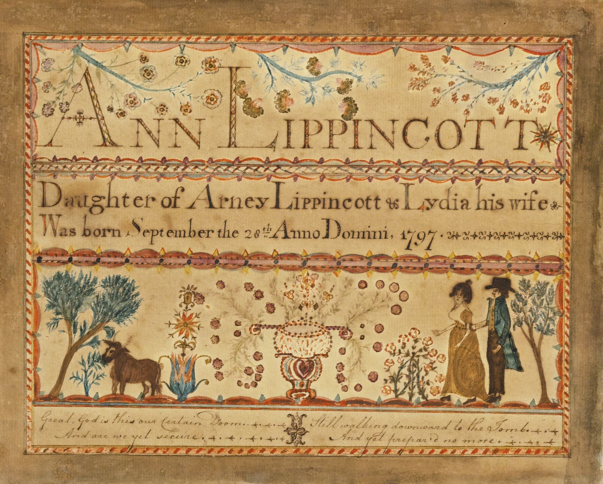 620 watercolor birth certificate for ann lippincott the new 620 watercolor birth certificate for ann lippincott the new jersey artist burlington county new aiddatafo Image collections