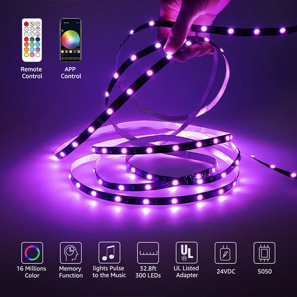 10m Alexa Rgb Led Strip Smart Wifi Led Streifen Lichtband Leiste Mit Fernbedienung Eu Plug