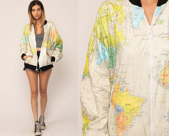 World map jacket 90s tyvek coat ussr bomber jacket windbreaker world map jacket 90s tyvek coat ussr bomber jacket windbreaker plastic grunge travel retro vintage 80s hipster atlas small medium large pinterest retro gumiabroncs Image collections
