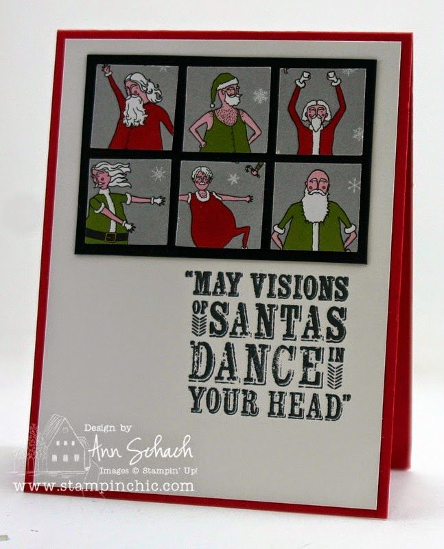 SU! Visions of Santa stamp set (sentiment); Santas are Santa & Co DSP punched with 1-inch square punch; Real Red, Basic Black and Whisper White cardstock - Ann Schach
