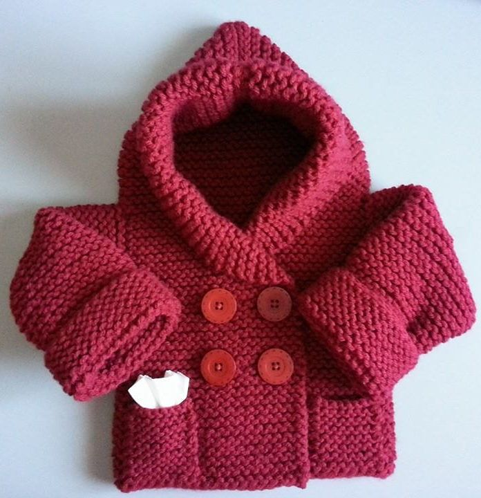 Free Knitting Pattern for Baby Hooded Jacket - Baby hoodie cardigan ...