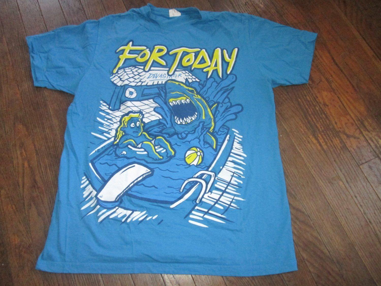 d3f8de8fe77b5f For Today Band Shirt Blue Shark Attack Shirt Mens Size Large FREE SHIPPING  Rock Shirts,