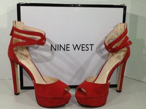 Nine West Voretta Womens Size 65 Red Suede Pumps Platform Stiletto Heels ZI 686