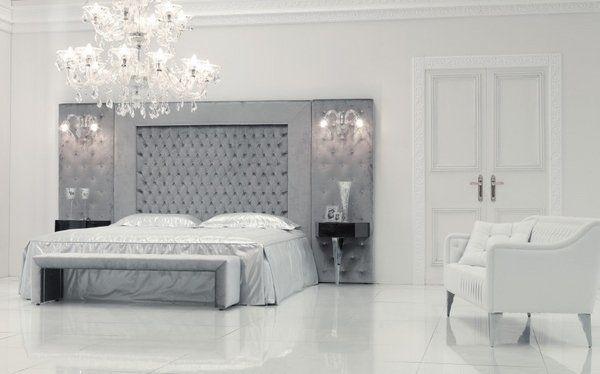 Luxury White Bedroom Design Tall Headboard Ideas Gray Tufted Headboad Wall  Sconces Crystal Chandelier