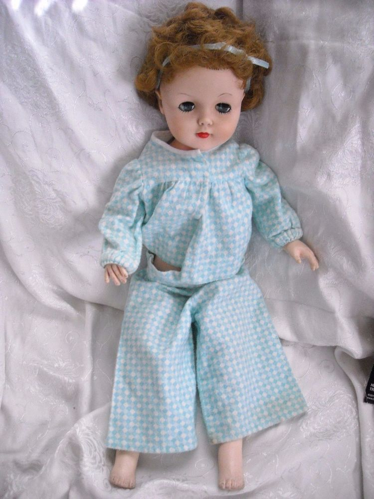 """22"""" vintage 1950's? rubber girl doll toy sleep eyes in hand made pajamas for sale in my"""