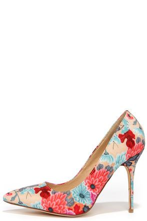 5c04d9efc2b8 Cute Red Pumps - Floral Print Pumps - Pointed Pumps -  30.00