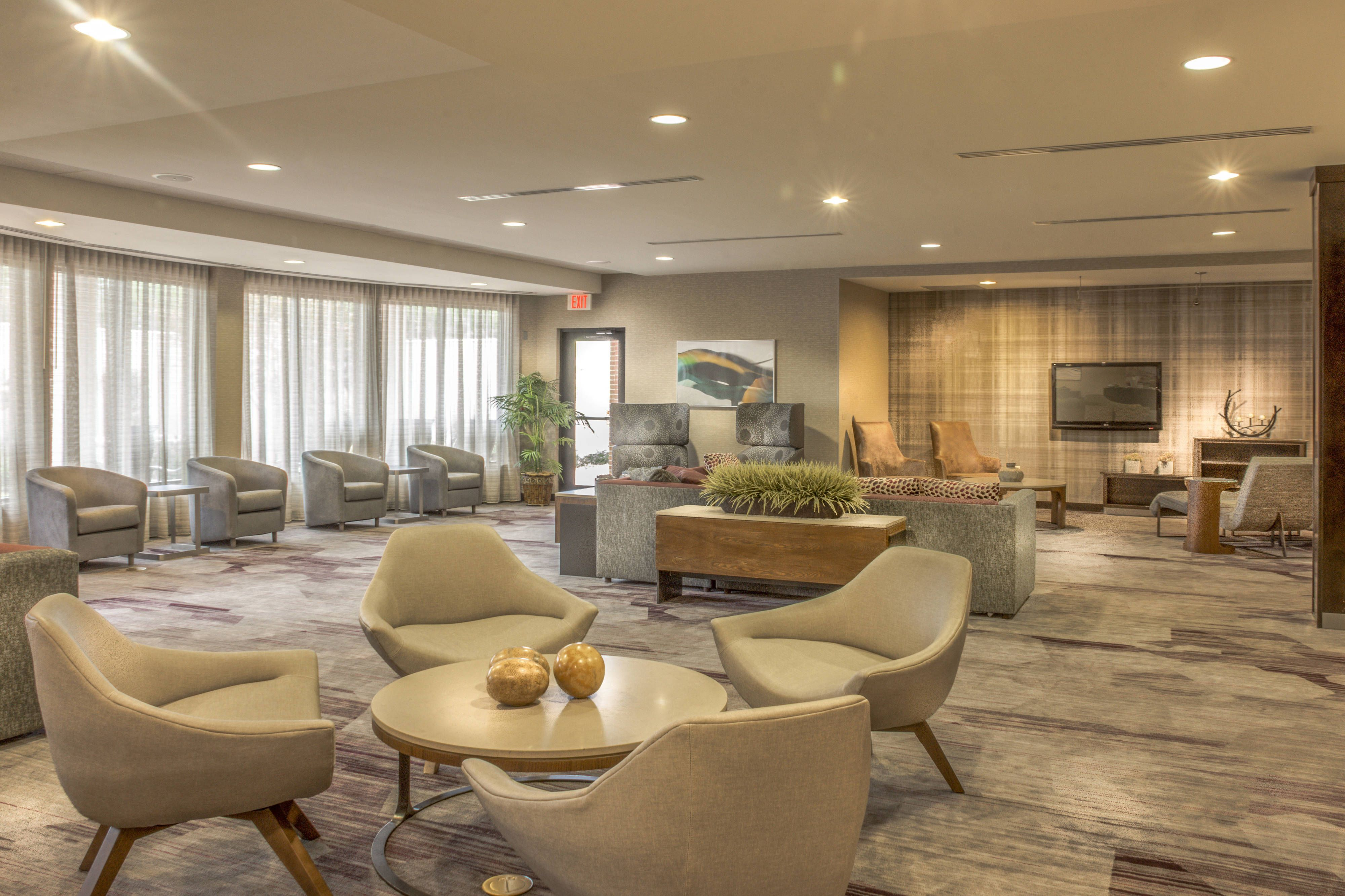 Courtyard greensboro airport lobby seating area travel