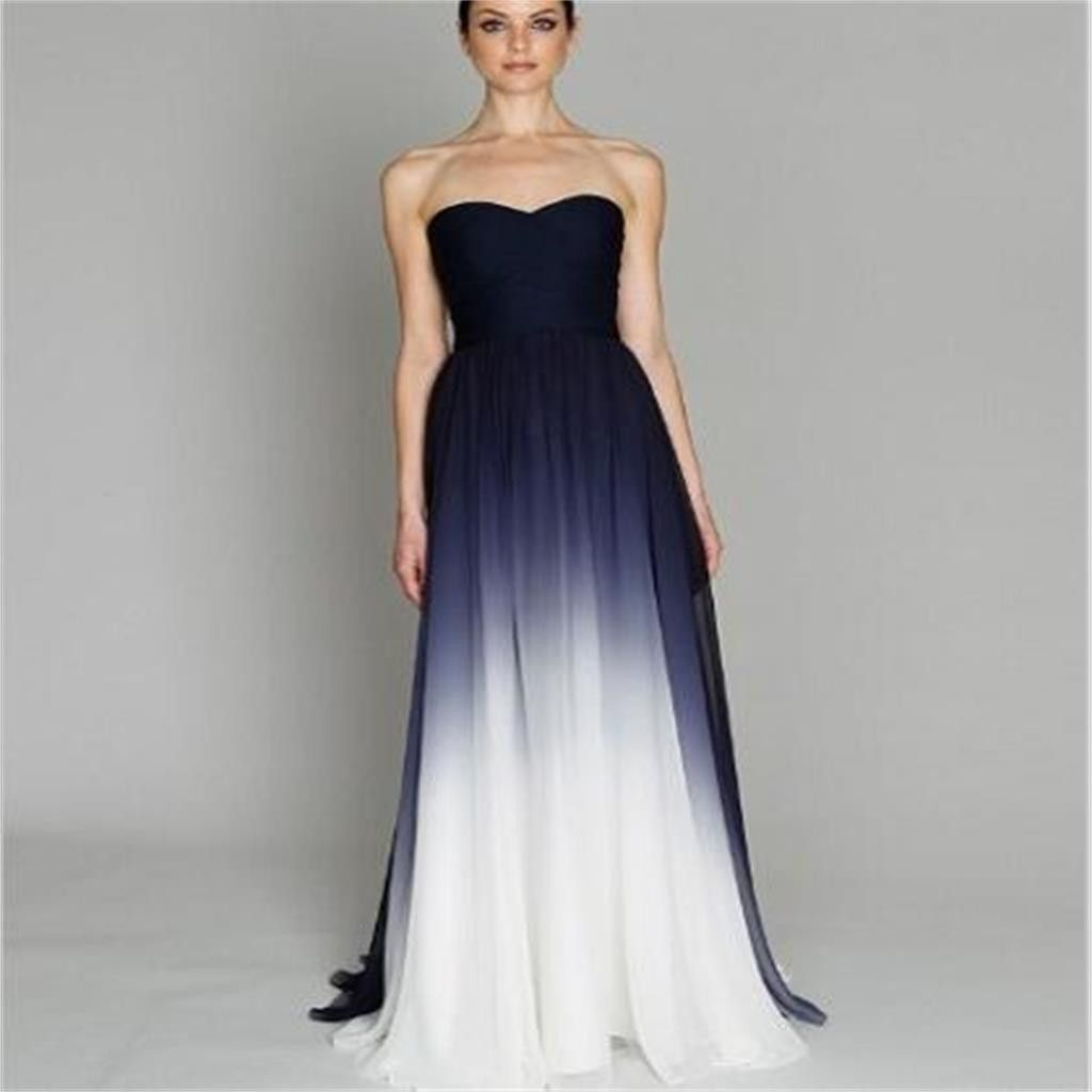 Discount Evening Gowns: Strapless Gradient Cheap Chiffon Black White Discount