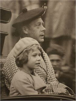 "Queen Elizabeth as a little girl with her father, whose title was then, ""Prince Albert, Duke of York.""  He would later become King George VI."