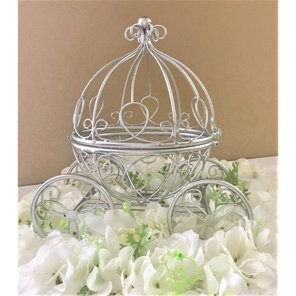 Cinderella Coach Centerpiece, Silver Wire Cinderella... (€30) ❤ liked on Polyvore featuring etsyfru