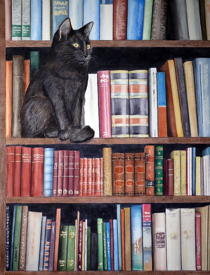 Bookshelf Cat Painting