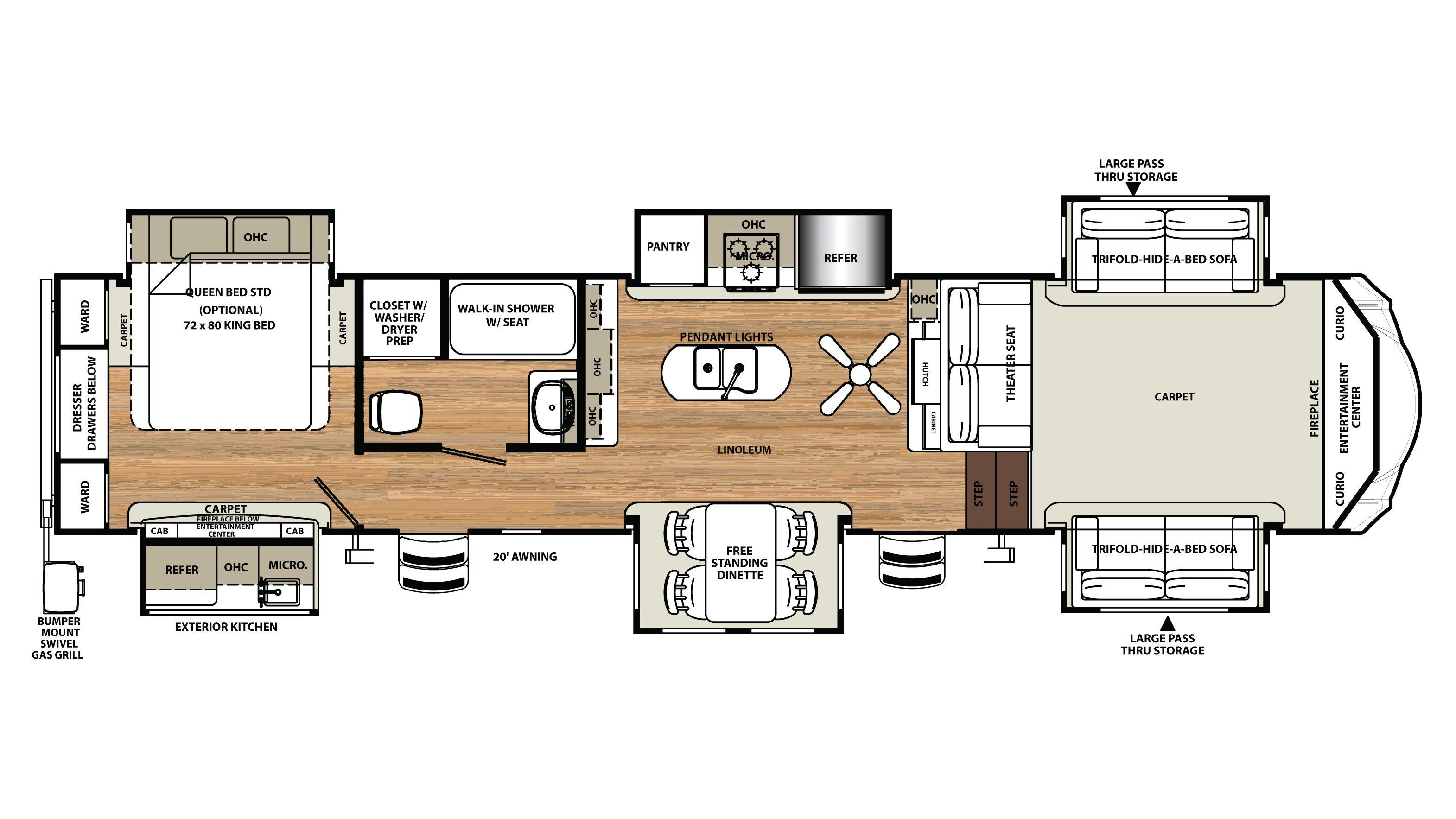 Sandpiper 5th Wheel Rv Floor Plans Rv Floor Plans Travel Trailer Floor Plans Camper Flooring
