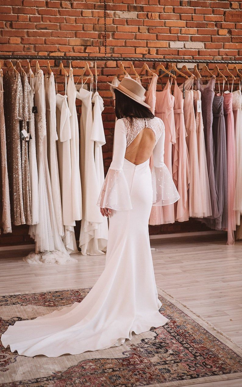 Parisienne By Boom Blush Unique Backless Simple Lace Wedding Etsy Lace Wedding Dress With Sleeves Simple Lace Wedding Dress Wedding Gowns Mermaid [ 1270 x 794 Pixel ]