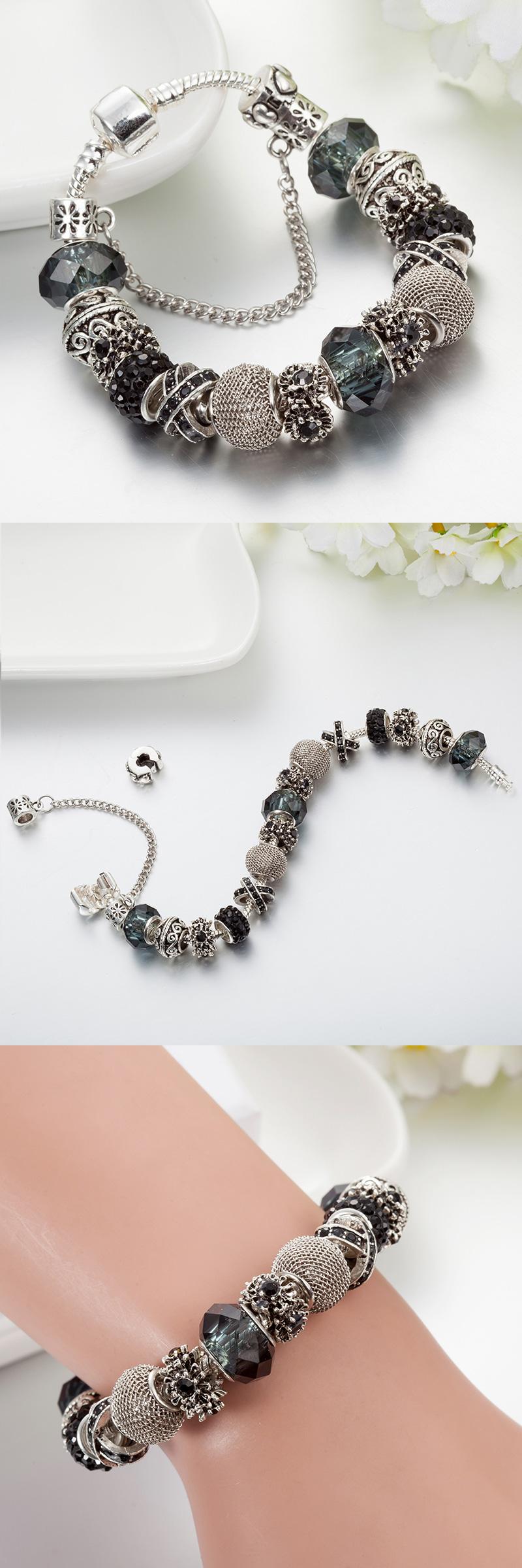 new design crystal charm bracelets u bangles fashion blue glass