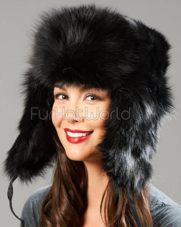 e1ebd1a305f Womens Black Fox Full Fur Russian Hat