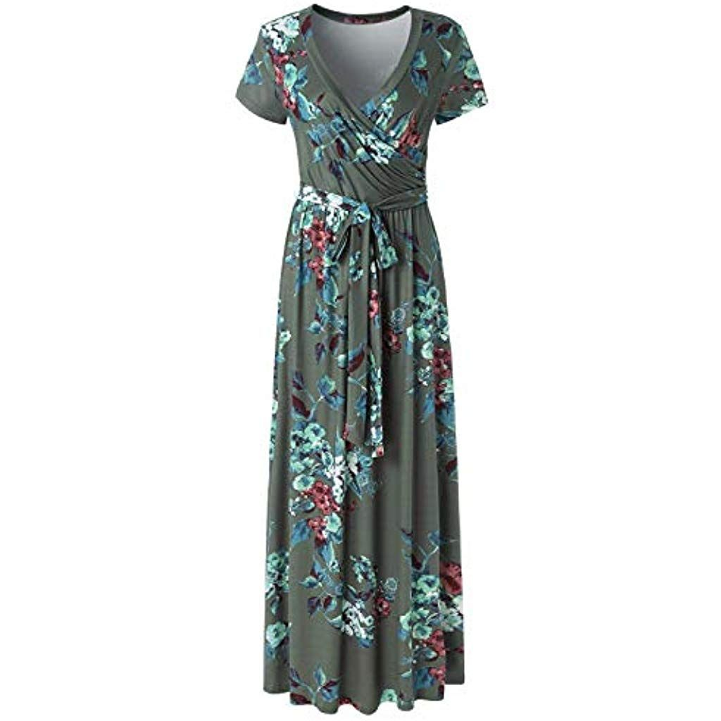 CLOUSPO Sommerkleid Damen Kurzarm V Ausschnitt Maxikleider Lange Kleider Strandk…