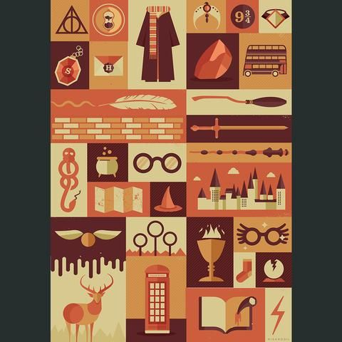 Harry Potter Items Poster Harry Potter Items Harry Potter Quilt Harry Potter Universal