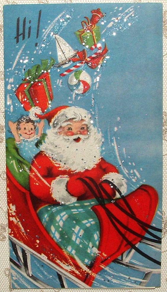 Christmas Greeting Card General 'Merry Christmas' Xmas Card Vintage Santa