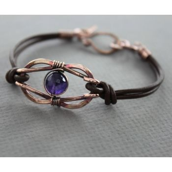 Bracelet > Copper with leather bracelet in knotted infinity design and amethyst stone