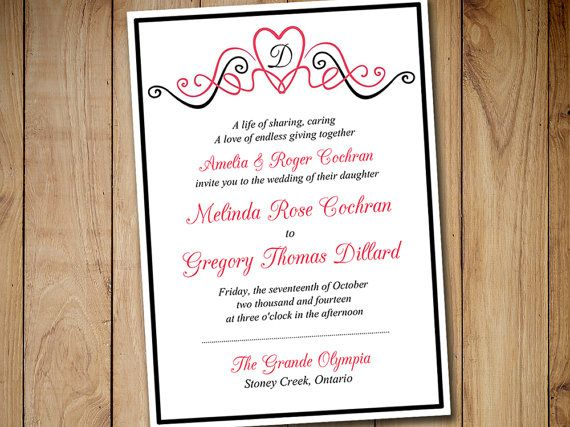 Printable Wedding Invitation Template Heart Invitation Monogram