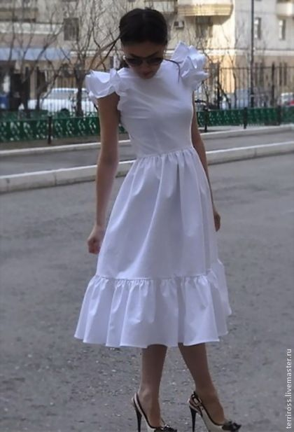 Платья ручной работы. Ярмарка Мастеров - ручная работа. Купить Платье Белое. Handmade. Белый, однотонный, Платье белое