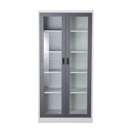 2 Door 5 Shelf Bookcase With Tempered Glass Front Key Lock Entry By Diamond Sofa FCG5DG Amazon Dp B01LYU26WZ Ref