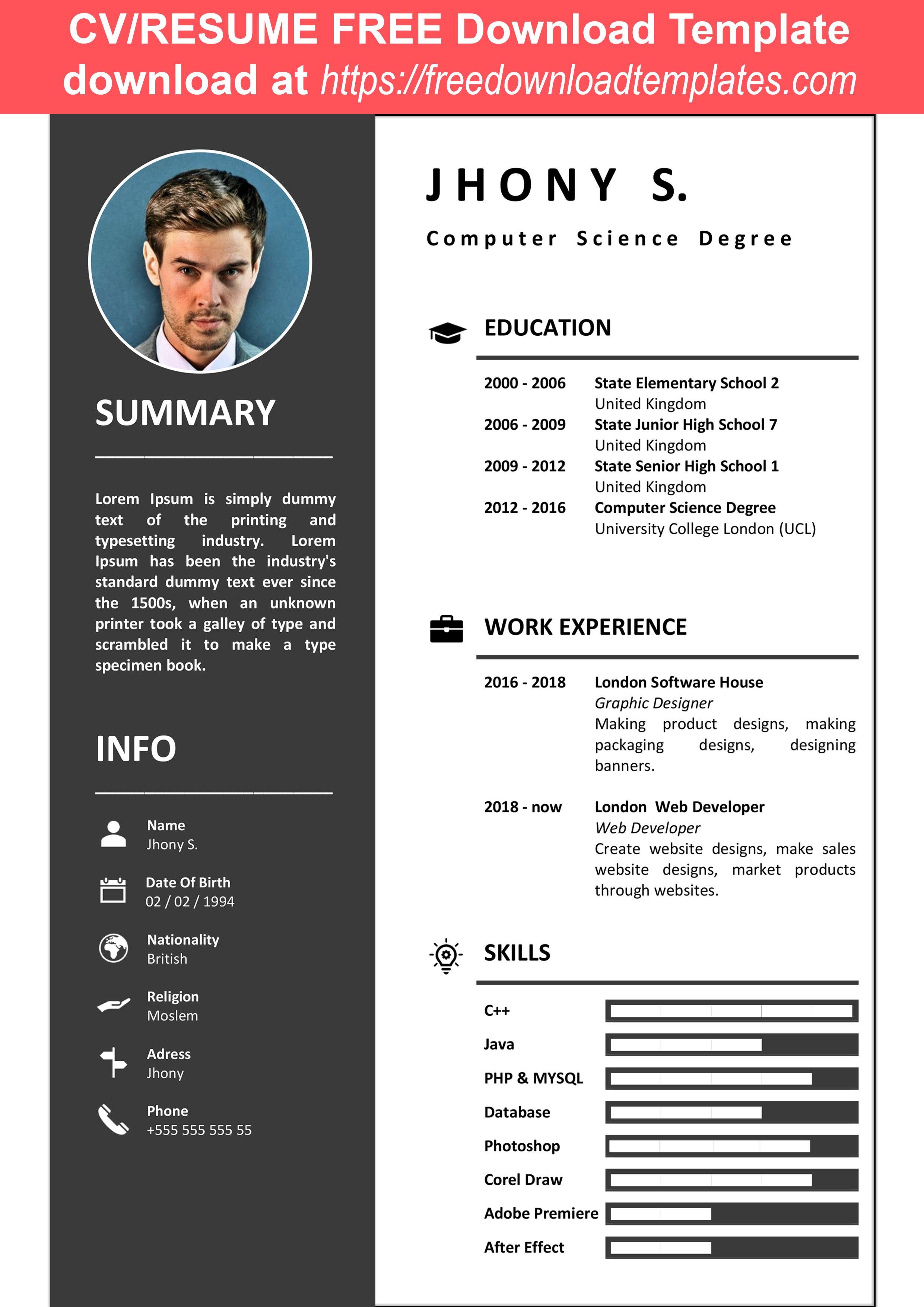 Clean Modern Cv Resume Black Gray White Professional Ms Word Template Elementary Schools Computer Science Degree Modern Cv