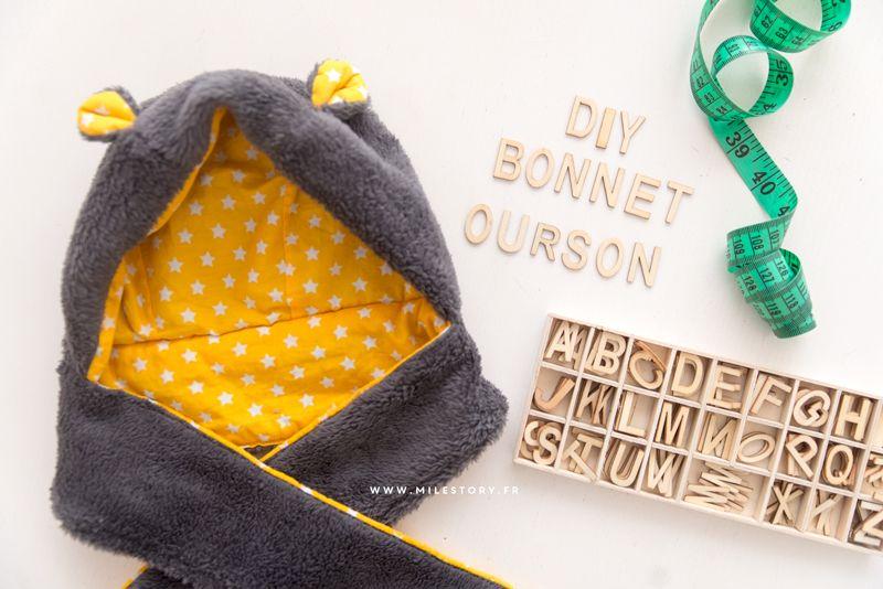 DIY couture : Tuto Bonnet ourson bébé / enfant