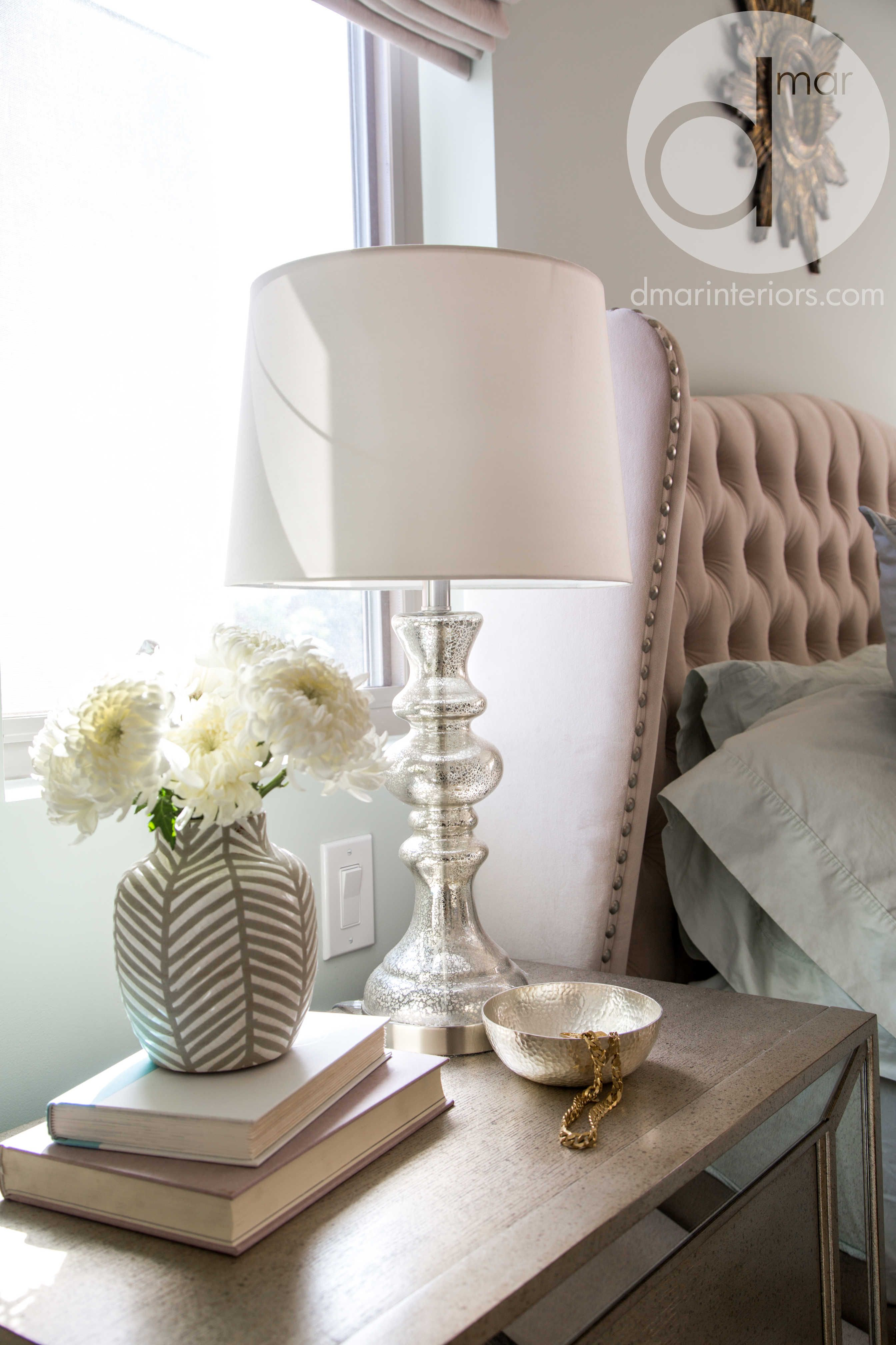 Nightstand details, flowers, neutral colors, mirrored nightstand, mercury glass table lamps