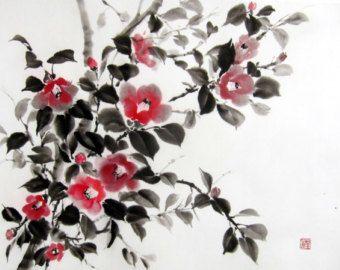 Ink Painting Japanese art Asian art Suibokuga Sumi-e Rice paper,Red Black/Large18x23' Japanese Camellia