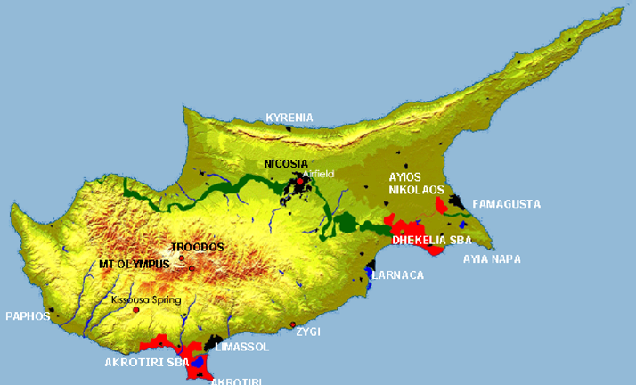 Sba Map Cyprus Geography Pinterest - Cyprus map png