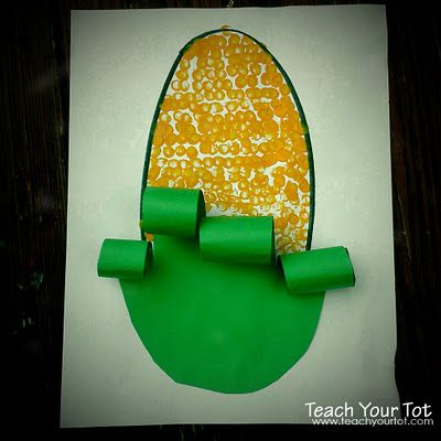 Corn Activity For Vegetable Theme Cut Out A Green Oval And Glue