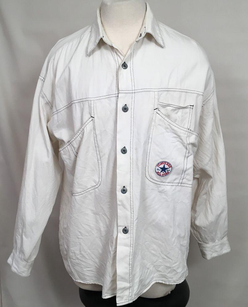 025bf1d0f020 VTG 80s 90s Mens Chuck Taylor CONVERSE Shirt White Cotton RARE Button Front  sz L  Converse  ButtonFront  Casual