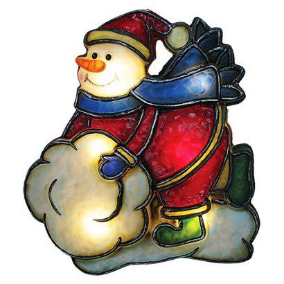Battery Operated Snowman Window Silhouette - Multicolor ...