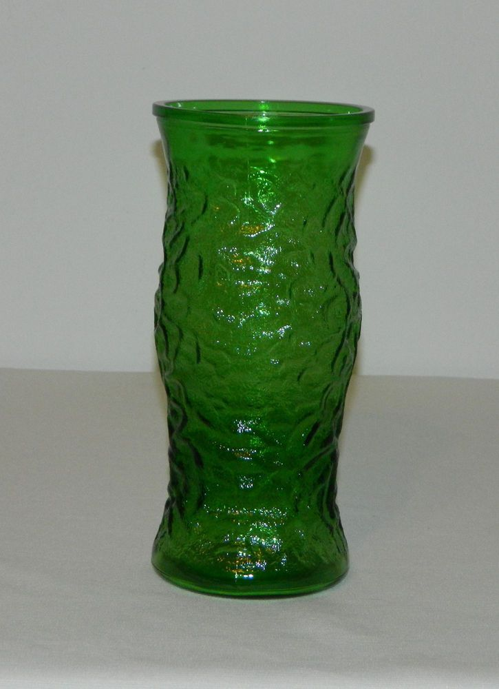 Vintage Hoosier Glass 95 T Green Textured Glass Vase Marked