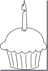 Template For Paper Cupcake With Candle
