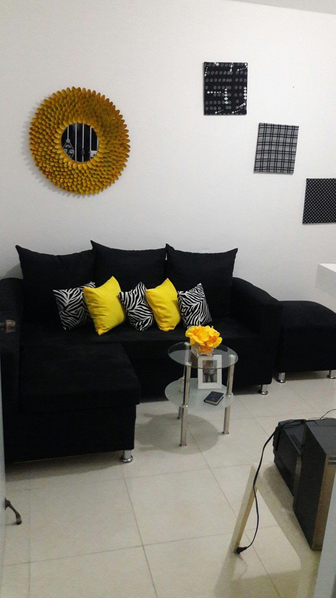 Black White And Yellow Living Room Yellow Decor Living