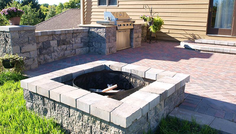 Square Firepit, Firewood, Patio Wall, Paver Patio, Bbq Grill, Fire Pits /  Fireplaces, Outdoor Cooking / BBQ, Patio