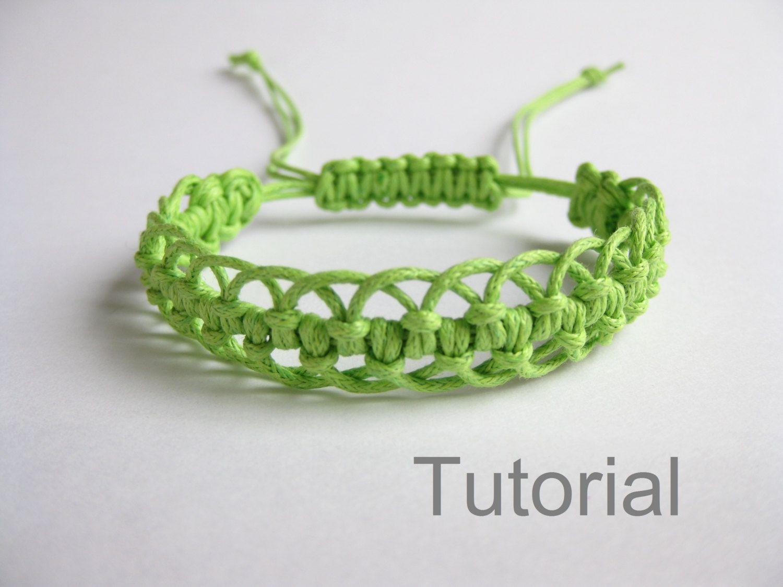 Bracelet modèle macramé pdf tutoriel vert par Knotonlyknots sur Etsy