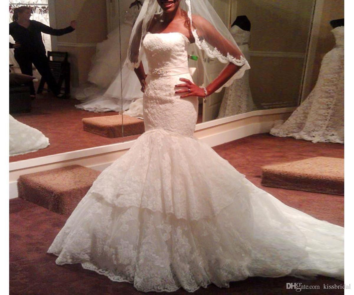 2017 Lace Mermaid Wedding Dresses Sash Tiered Zipper Strapless Court ...