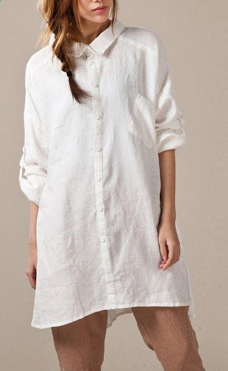White linen shirts long sleeve oversize womens linen dresses plus ...