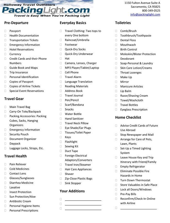 Packing light checklist- printed this off for vacation! ) @Ty